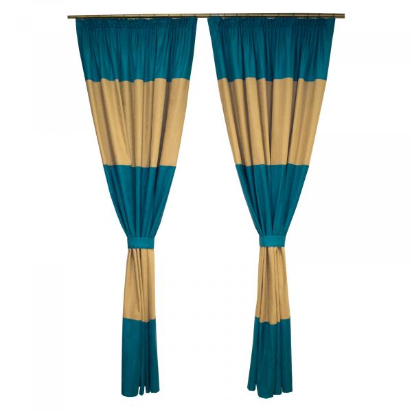 Set draperii Velaria turcoaz-bej, 2x150x230 cm 0