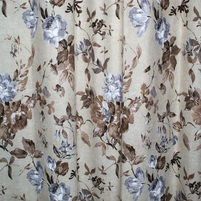 Set draperii Velaria in flori brown cu capse, 2*225x230 cm 1