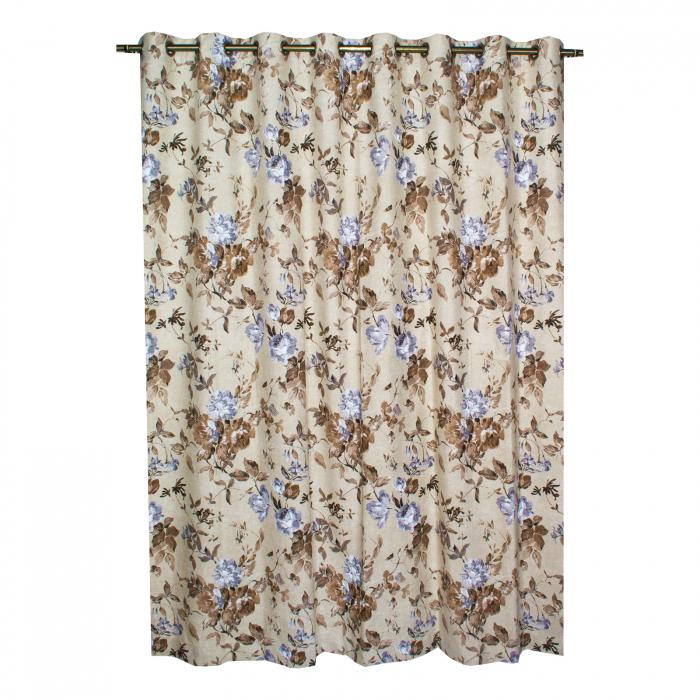Set draperii Velaria in flori brown cu capse, 2*225x230 cm 2