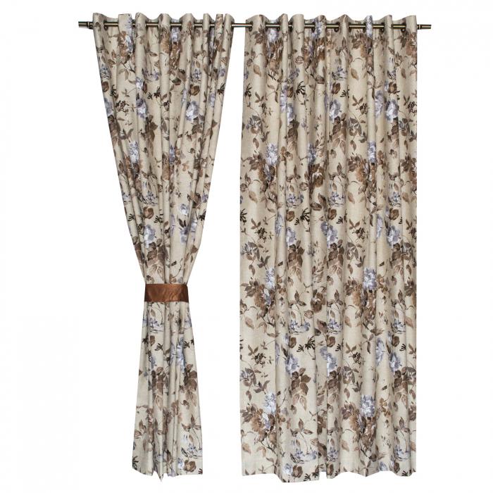 Set draperii Velaria in flori brown cu capse, 2*225x230 cm 3