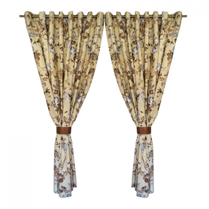 Set draperii Velaria in flori brown cu capse, 2*225x230 cm 0