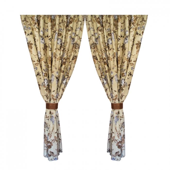 Set draperii Velaria in flori brown cu rejansa 0