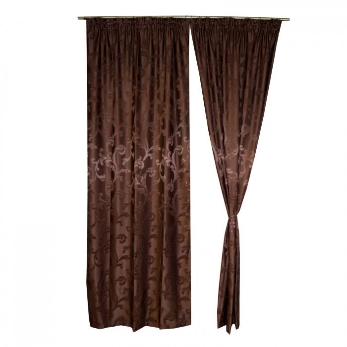 Set draperii Velaria jacard wenge, 2*115x250 cm 0