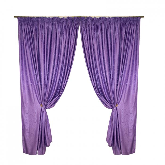 Set draperii Velaria jacard mov, 2*315x245 cm [0]