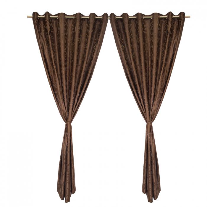 Set draperii Velaria jacard wenge, 2*150x220 cm 0