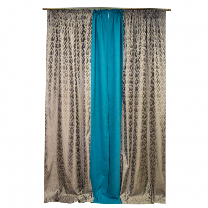Set draperii Velaria romb gri cu turcoaz, 2x140x280 cm 4