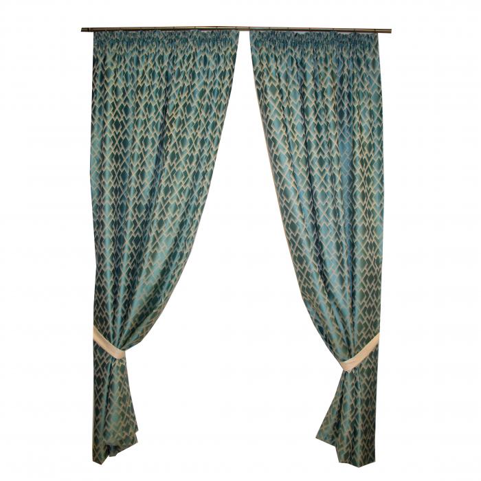 Set draperii Velaria romburi turcoaz, 2*150x260 cm [0]