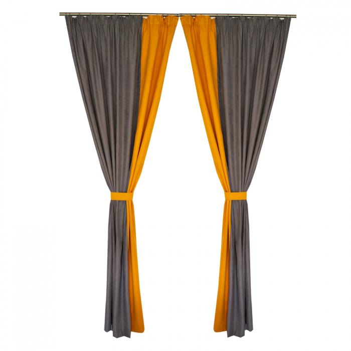 Set draperii Velaria gri-portocaliu, 2*160x260 cm [0]