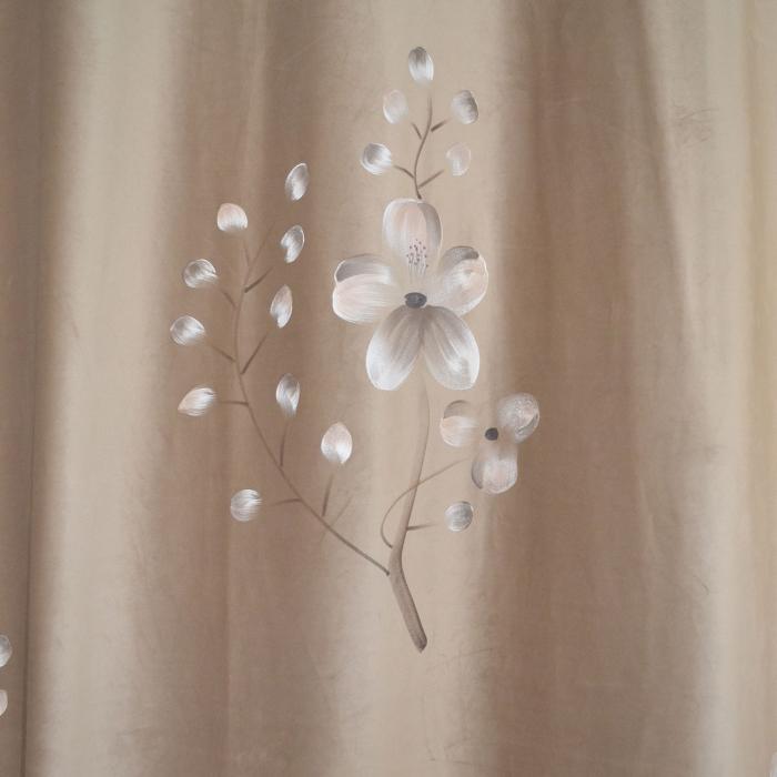 Set draperii Velaria catifea orhidee bej cu rejansa, 2*200x260 cm [3]