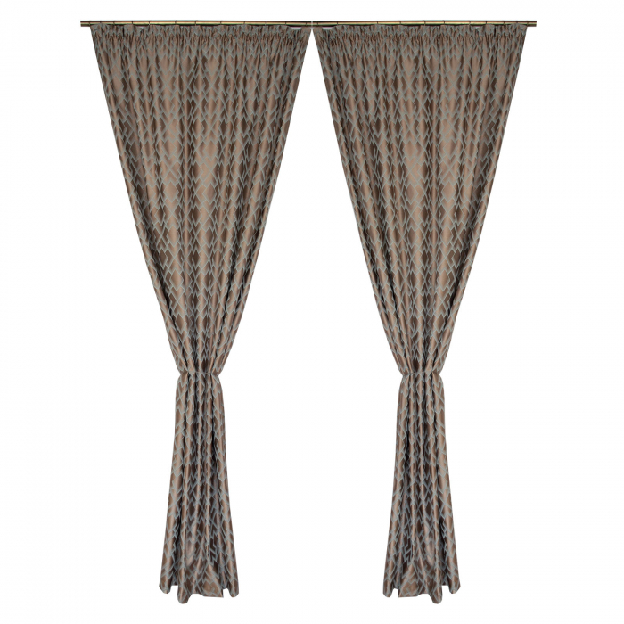 Set draperii Velaria tafta bej cu romburi turcoaz, 2*140x260 cm [0]
