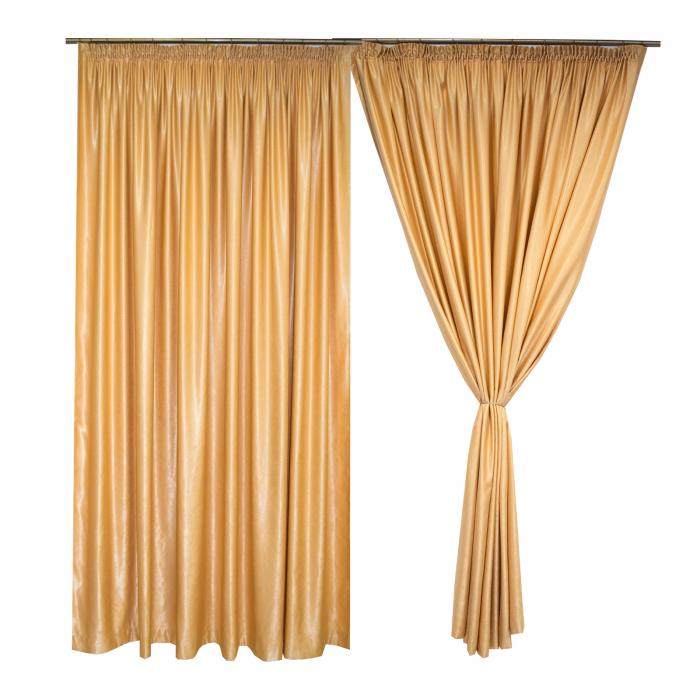 Set draperii Velaria soft auriu, 2*260x245 cm 0