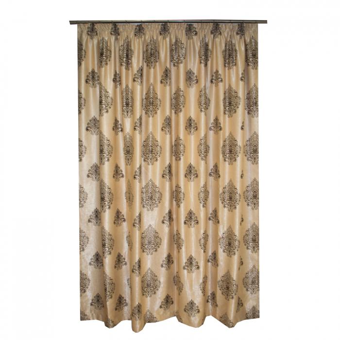 Set draperii Velaria blackout grej cu baroc wenge, 2*285x245 cm 2