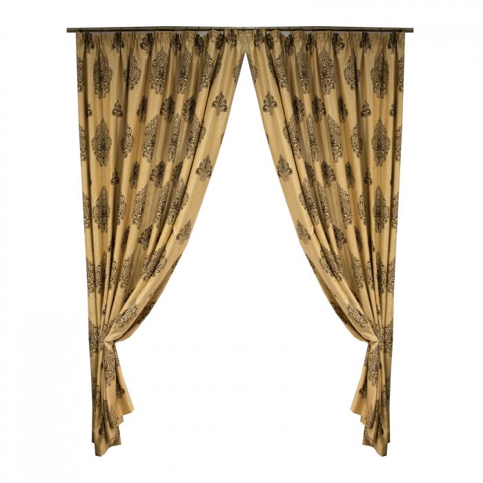 Set draperii Velaria blackout grej cu baroc wenge, 2*285x245 cm 0