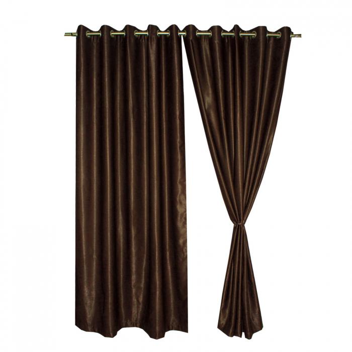 Set draperii Velaria soft wenge cu capse, 2*150x270 cm [0]