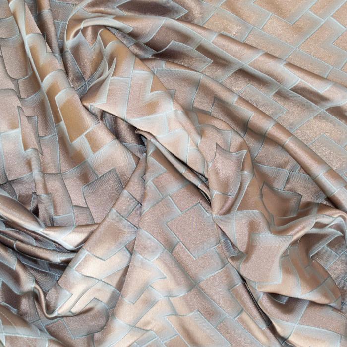 Set draperii Velaria tafta bej cu romburi turcoaz, 2*140x260 cm [5]