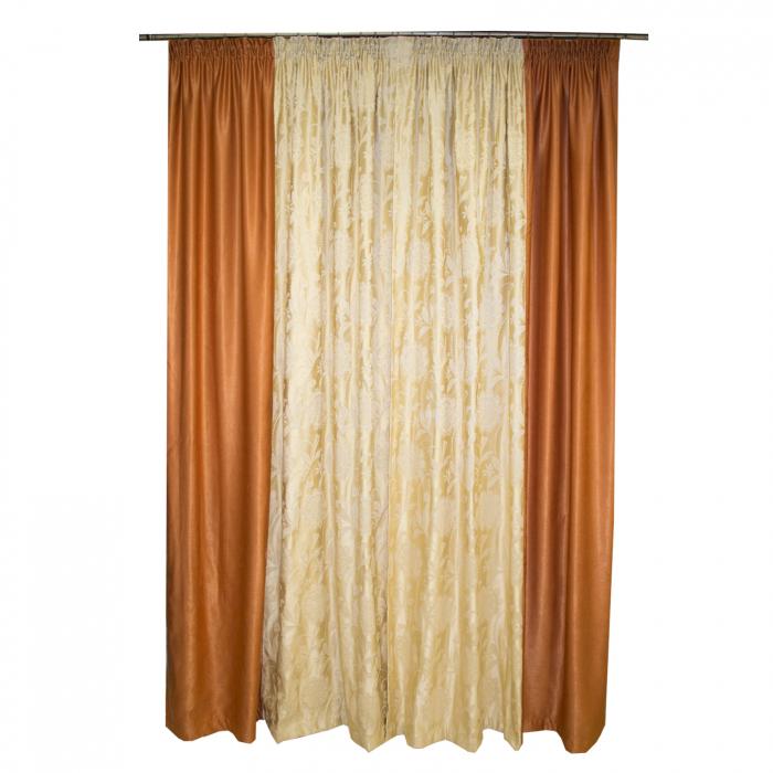 Set draperii Velaria tafta cu caramiziu, 2x160x260 cm 1