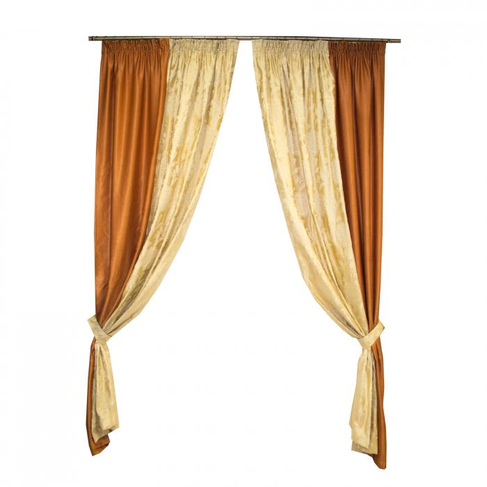 Set draperii Velaria tafta cu caramiziu, 2x160x260 cm 0