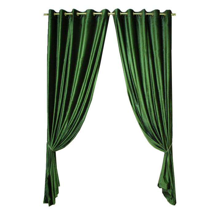 Set draperii Velaria catifea verde metalic, 2*150x270 cm 0