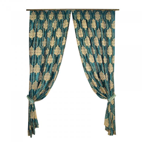 Set draperii Velaria tafta turcoaz cu baroc bej, 2*140x260 cm [0]