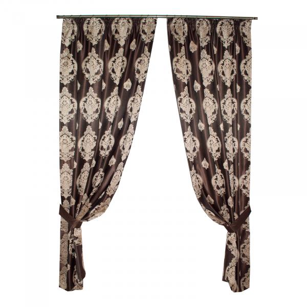 Set draperii Velaria tafta wenge cu baroc bej 0