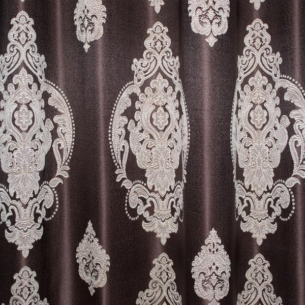 Set draperii Velaria tafta wenge cu baroc bej 3