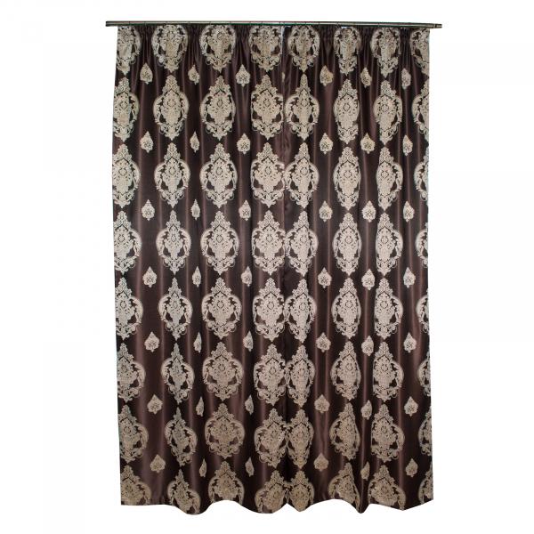 Set draperii Velaria tafta wenge cu baroc bej 2