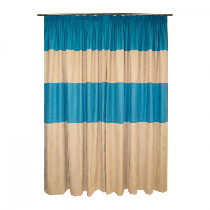 Set draperii Velaria turcoaz-bej, diverse dimensiuni 1