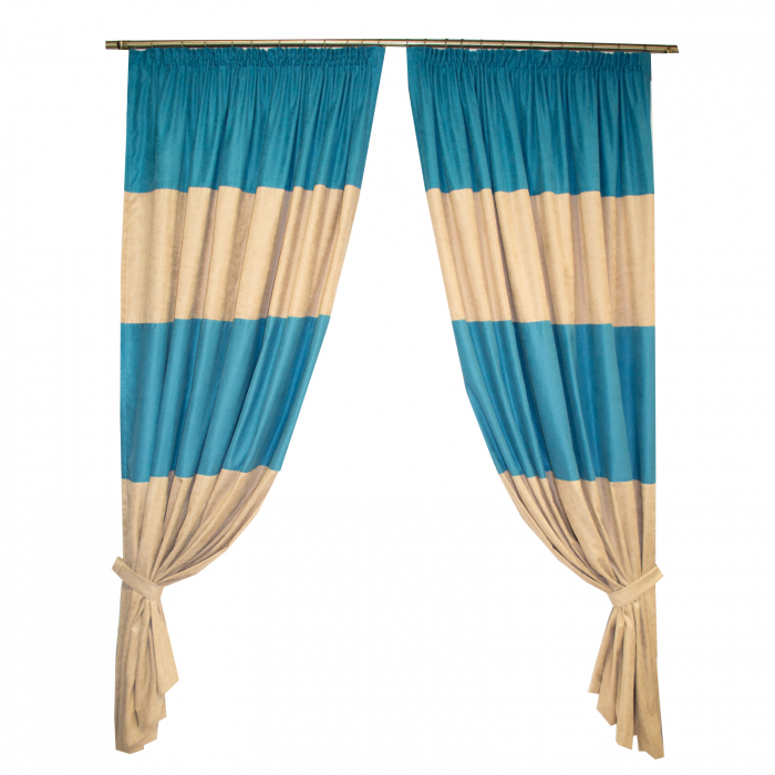 Set draperii Velaria turcoaz-bej, diverse dimensiuni 0