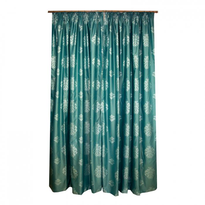 Set draperii Velaria tafta baroc turcoaz, 2*150x260 cm [2]