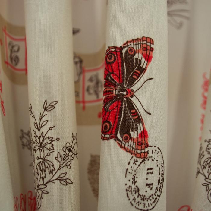 Set draperii Velaria in fluturi paris rosu 120x270x2 2