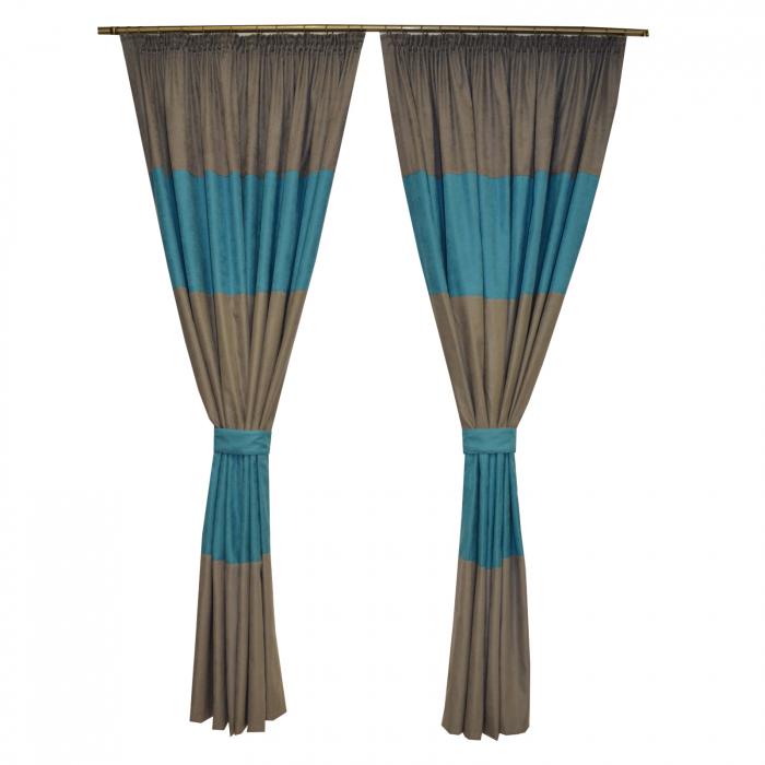 Set draperii Velaria turcoaz gri 2x200x230 cm 0