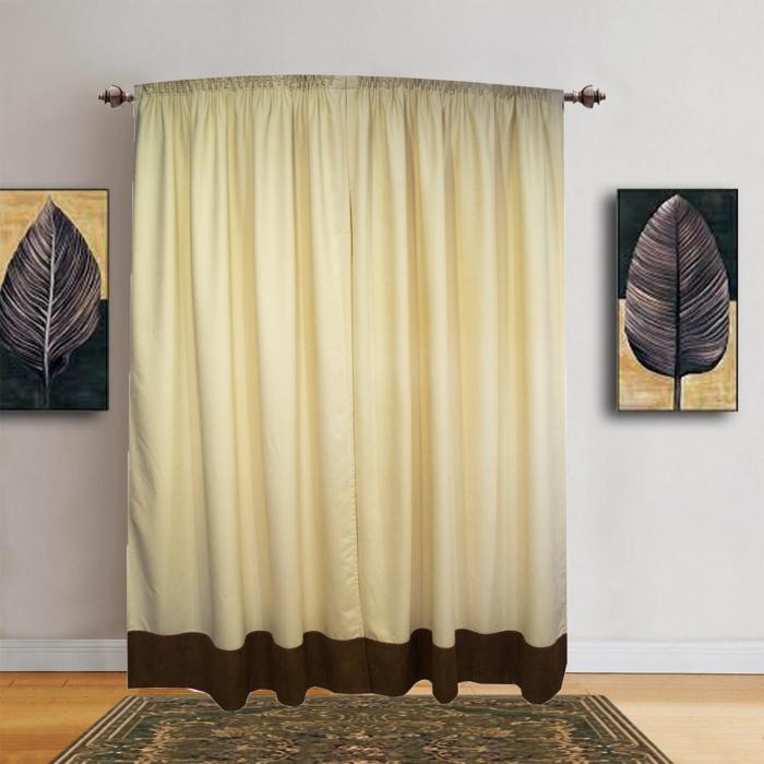 Set draperii Velaria unt cu banda maro, 2x150x245 cm 0