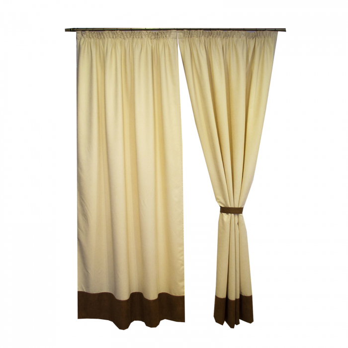 Set draperii Velaria unt cu banda maro, 2x150x245 cm 2