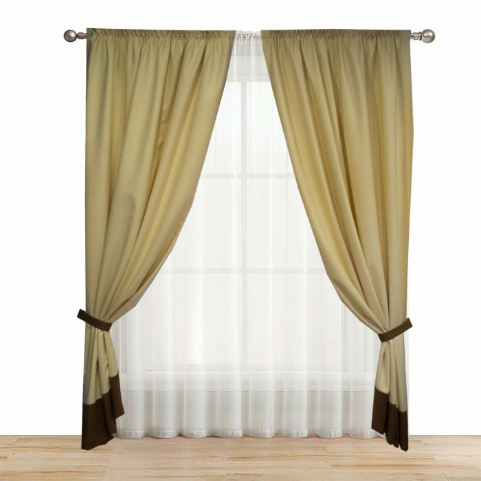 Set draperii Velaria unt cu banda maro, 2x150x245 cm 1