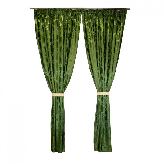 Set draperii Velaria jacard verde, 2*170x260 cm [0]