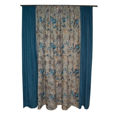 Set draperii gri cu flori turcoaz, 2x185x260 cm2