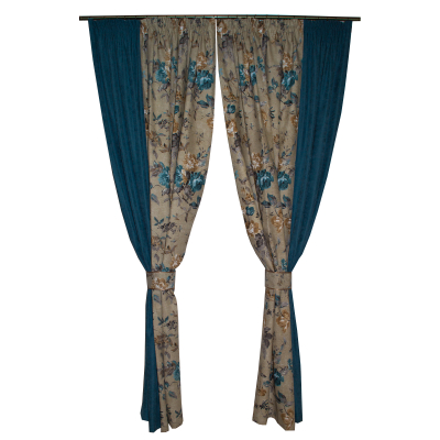 Set draperii gri cu flori turcoaz, 2x185x260 cm0