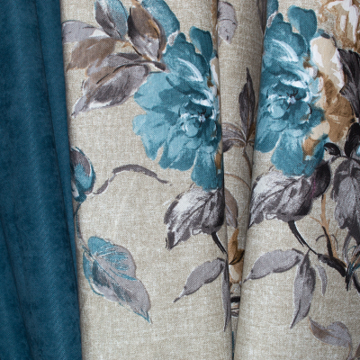 Set draperii gri cu flori turcoaz, 2x185x260 cm1