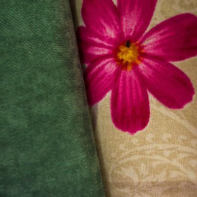 Set draperii Velaria flori siclam, 2x150x260 cm2