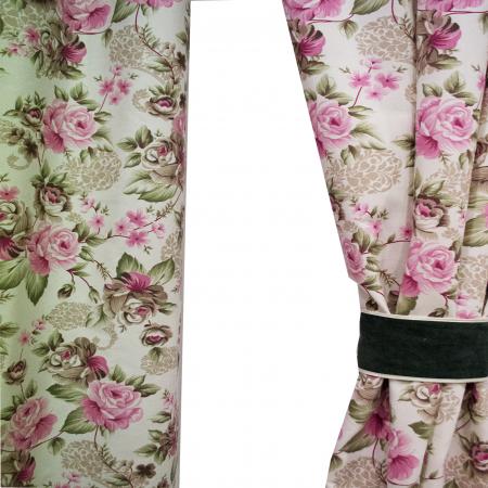 Draperie Velaria flowers flori verzi maro2