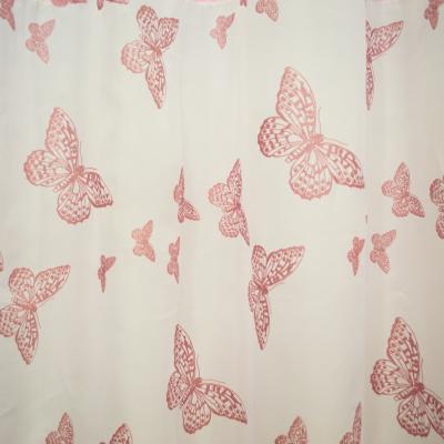 Perdea Velaria voal alb cu fluturi roz1