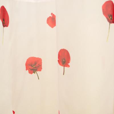 Perdea Velaria voal alb cu maci rosii, 400x185 cm2