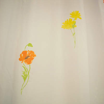 Perdea supervoal orange flowers 210x245 cm2