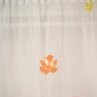 Perdea voal alb cu flori portocalii, 260x185 cm1