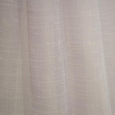 Perdea din in alb cu imprimeu geometric mov, 245x165 cm2
