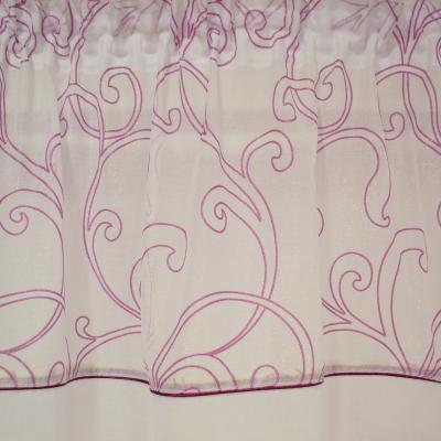 Perdea din in alb cu imprimeu geometric mov, 245x165 cm1