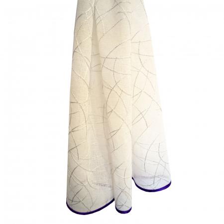 Perdea Velaria alba cu imprimeu si bata mov, 210x175 cm [1]