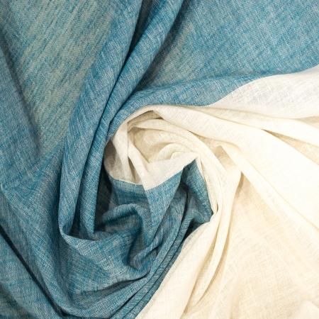 Perdea Velaria in alb cu banda turcoaz, 290x250 cm1