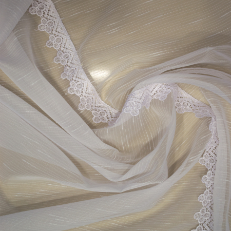 Perdea Velaria sable alb cu dantela, 340x140 cm3