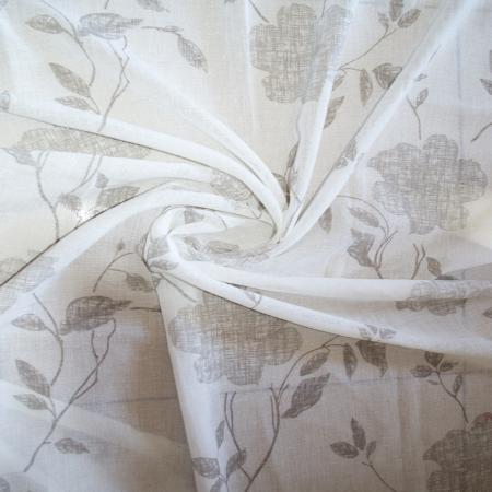 Perdea Velaria inisor alb cu flori gri, 110x180 cm1